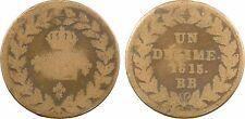 Louis XVIII, 1 décime, 1815 point, blocus de Strasbourg, bronze - 65