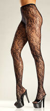 Floral net pantyhose intimate apparel cloth wear one size elegant black new
