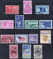 Scott #1086-99 Used Set of 14 Stamps, 1957 Commemoratives