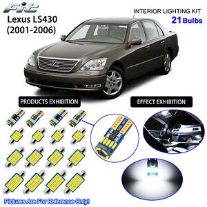 21 Bulbs White LED Interior Light Kit For Lexus LS430 (With Rear Vanity Mirror)