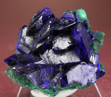 SHARP RICH BLUE AZURITE CRYSTALS GROUP w MALACHITE, MILPILLAS, MEXICO