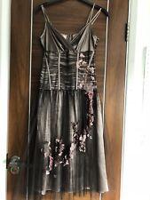 Karen Millen Mink Brown Satin Layered Organza Mesh Floral Prom Dress Size 8