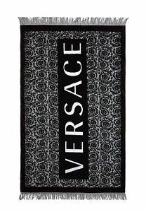 VERSACE Black Beach Towel Cotton Baroque Print Big Logotype Fringed Luxury Brand