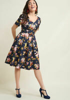 Modcloth Elegant Instance Navy Blue Floral Fit and Flare Dress Size S V Neck