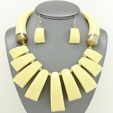 Chunky Ivory/Cream Resin Marbelized African Tusk Statement Necklace Set