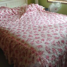 Vintage retro floral bedspread set - pink single quilt with two Pillowcases