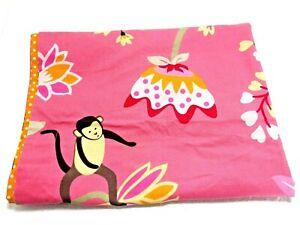 New POTTERY BARN KIDS Pink European Sham Emmy Monkey Floral 26 x 26 Cotton