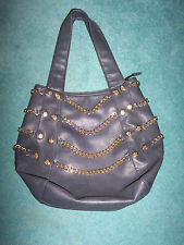 HOUSE OF DEREON BEYONCE large tote bag w/gold chains faux leather charcoal gray