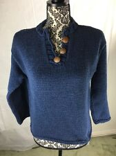Pure Hand knit Sweater colonial blue 3 wood buttons 100% cotton M L great layer