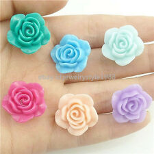 17365*30PCS Mix Resin Rose Flower Charm Spacer Beads 20*9mm