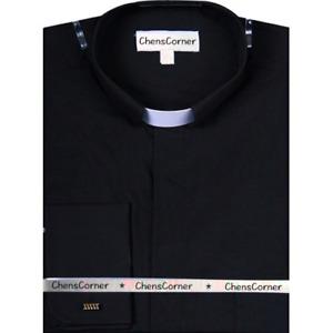 NWT Men's BLACK Tab Collar Clergy Preacher Clerical Priest Shirt Long Sleeves