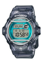 Casio Baby-g Bg169r-8b Face Protector Ion-plated Metal Grey Blue Watch Digital