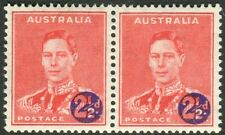 AUSTRALIA-1941 2½d on 2d Scarlet MEDAL FLAW.  A lightly mounted mint pair Sg 200