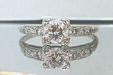 Vintage ANTIQUE  ROUND OLD mine CUT 0.65ct  Diamond  18k white gold ring