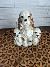 3 Cocker Spaniels Planter Japan Vintage Setter Dog Decor Puppies Ceramic Porcela