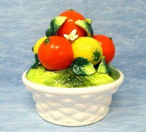 Vintage Ceramic Orange Lemon Fruit Basket bowl hand painted Harvest Collection