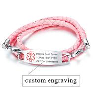 PINK Women Braided Leather Medical Alert ID Bracelet Wristband Free Engraving