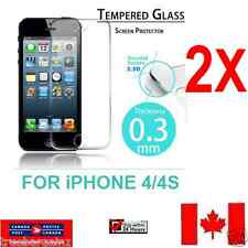 2X- PREMIUM TEMPERED GLASS SCREEN PROTECTOR FILM FOR APPLE iPhone 4S & iPhone 4