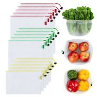 Ecowaare Set of 15 Reusable Mesh Produce Bags - Eco-Friendly - Washable and S...