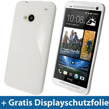Zweiton Weiß TPU Gel Etui Tasche für HTC One M7 Android Smartphone Hülle