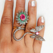 Ruby Xmas Diwali Party Wear Ring 2.75ct Natural Antique Rose Cut Diamond Emerald
