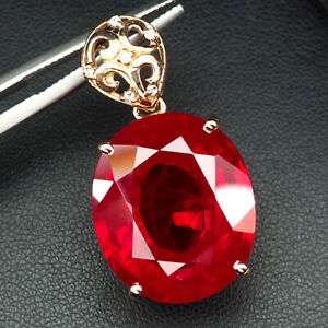 RUBY BLOOD RED OVAL 41.40 CT.SAPPHIRE 925 STERLING SILVER ROSE GOLD PENDANT GIFT