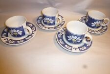 Oneida Kitchen Spring Daisy 4 Cups Saucers Blue White Floral Dinnerware