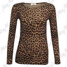 Ladies Women's Brown Leopard Print Long Sleeve Stretch Viscose Tee Top SM ML