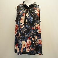 Love Scarlett Womens Top Sleeveless Tie Neck Floral Black Blue Red Blouse L $70