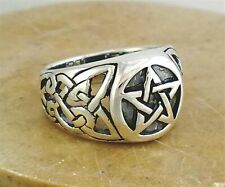 STERLING SILVER LARGE CELTIC WICCA PENTACLE RING sz 9  style# r0769