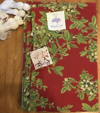 April Cornell Brunch Tablecloth 48 X 48 Mistletoe Red 100% Cotton India NEW