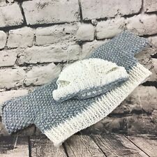 Handmade Knit Teddy Bear Outfit Gray & Cream Sweater And Beanie Cap W/Ear Holes