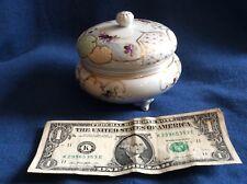 vintage porcelain Japanese 4 inch round dresser jar-purple flowers raised white