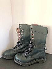 DOC MARTIN HIGH TOP LACE UP GREEN LEATHER BOOTS/PLAID INNER THINSULATE SZ 8