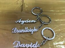 Set Of 3 Personalise Key Chain With Your Name Hand Carved Silver Color