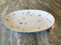 "Wood Violet by Sango OVAL SERVING PLATTER, 12"" Purple/Pink/Blue Flowers, Japan"