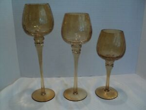 Beautiful Amber Crackled, Glasses for Table or Mantel Decor or Candle Holders