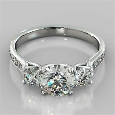 Engagement Rings 925 Sterling Silver 3 Round Cut Moissanite Diamond Solitaire