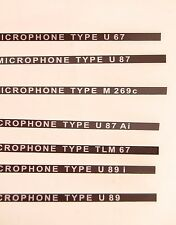 Name Labels for Vintage Neumann Mics U67, U87, M269C, U89, U87 Ai, U89 i, TLM 67