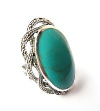 ELEGANT MARCASITE 3 CT TURQUOISE 925 STERLING SILVER RING SIZE 5-10