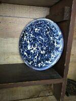 Antique Cobalt Blue & White Swirl Graniteware Pan