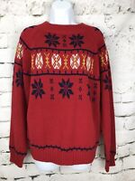 Vintage 1970's JC Penney Red Pullover Mock Neck Fair Isle Knit Ski Sweater M