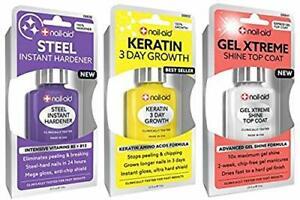 NAIL-AID Hardener + Keratin Growth + Gel Top Coat, Clear Set