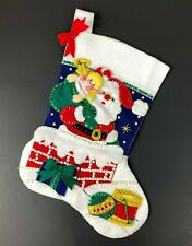Bucilla Santa Chimney Handmade Sequin Felt Christmas Stocking Sewn New Finished