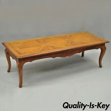 Vtg Country French Louis XV Provincial Solid Wood Parquetry Inlay Coffee Table