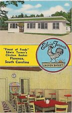 Edwin Turner's Chicken Basket Restaurant in Florence SC Postcard 1955