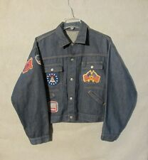 Ranch Craft Jean Jacket,Pleated 1970's Men's w/ Patches Large, Inv#Z8374