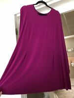 J Jill Wearever Collection Women's Tunic Top Pleated Rayon Blend Magenta Plus 3X