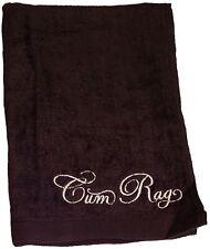 Cum Rag Towel Black Embroidered 100% Cotton Velour Jizz Spunk Wipe