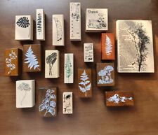 Vintage Wooden Rubber Stamps Plants Mushroom Scrapbooking DIY Craft Diary Decor